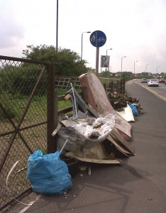 Fly-tipping awaiting collection