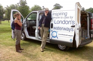 Joanne Bradley chats with River Cray Project Officer Michael Heath at the Danson event (picture by Chris Rose)