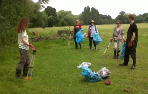 Volunteers work their way along the bank to the next 'grot spot'