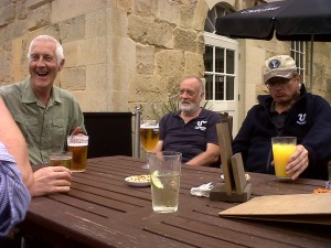 It's not all hard work .....FoTS committee member Robert Bradnam shares a joke outside the pub afterwards, as Cray Riverkeep volunteer Ron Pearson and Cray Project Officer Michael Heath enjoy a well-earned drink