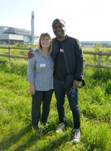 Karen Sutton rubbingh shoulders with TV personality David 'The Urban Birder' Lindo at the opening of the new crossness bird hide in 2014.