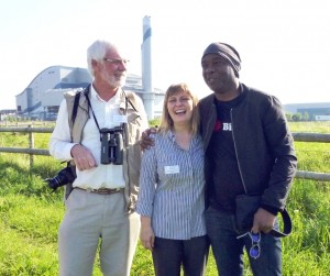 Ralph Todd (left), with Karen Sutton and David 'The Urban Birder' Lindo at the opening of the new Crossness bird hide in 2014.