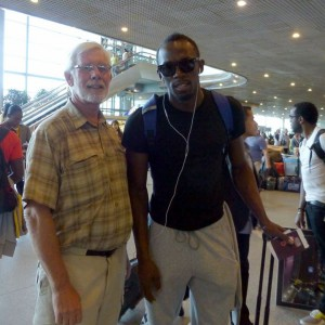 Ralph with Usain Bolt in Moscow Airport on the way back from the World Championships in August 2013