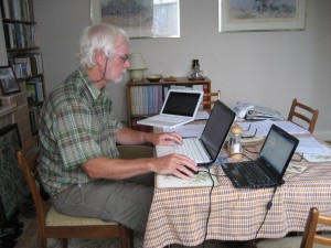 Ralph Todd hard at work on the January - June 2014 issue of the 'Bexley Bird Report'.