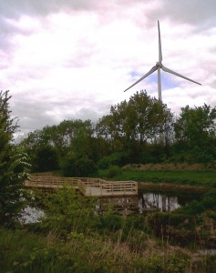 New Southern Marsh pool and boardwalk, with Crossness works wind turbine. (Photo: Chris Rose)