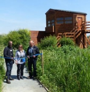 Karen Sutton at the official opening ceremony for the new Crossness bird hide in May, flanked by David 'The urban Birder' Lindo and long-serving Thames Water Biodiversity Manager Andy Tomczynski.