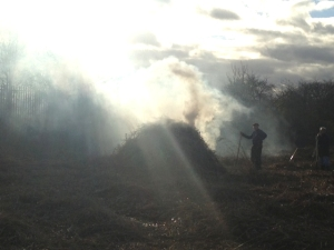 The smouldering pile of burning reed produced this atmospheric effect against the winter sun (Photo: Karen Sutton)