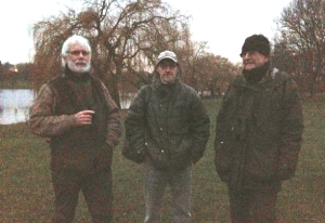 Ralph, Chris and Joh in the gloom after the Parakeet roost count at Danson. (Photo: Karen Sutton)