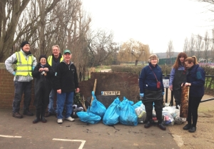 Friends of the Shuttle volunteers after the Crofton Road area clean-up along the river.