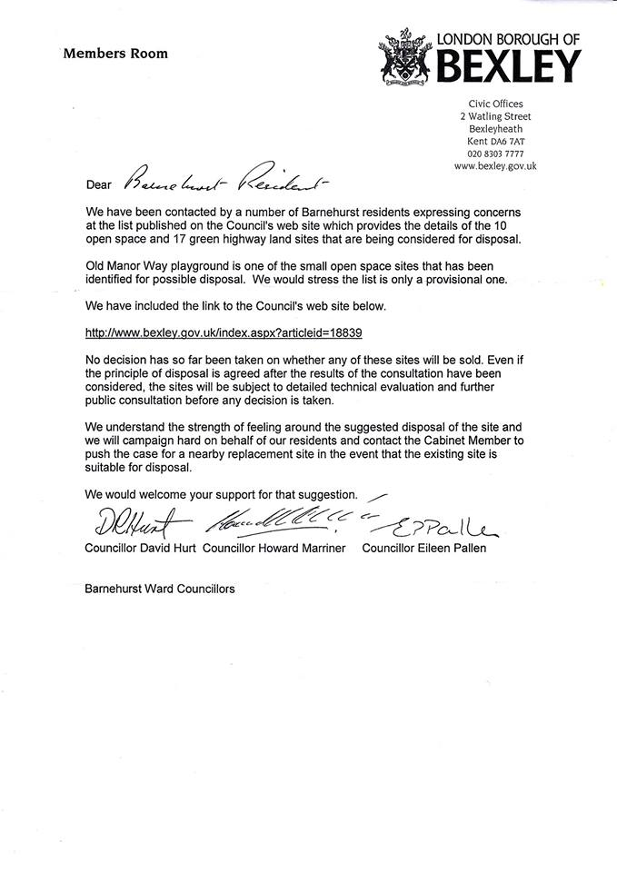 Conservative Councillors letter Old Manor Way