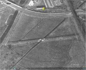 Google Earth image, said to have been taken in 1940. River Wansunt can clearly be seen cutting through the Sewer Pipe Embankment, with pipe bridge evident. Second drainage channel to the left, and another along the east margin of the site at the foot of the railway embankment. No trees or shrubs!