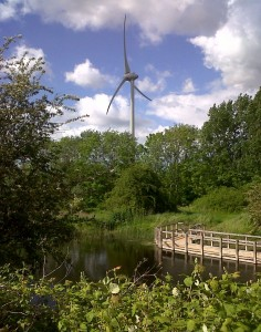 The Sewage Works wind turbine seen over the large new pond on Southern Marsh. (Photo: Chris Rose)