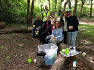 Some of the FotS crew enjoying refreshments in the woods after the clean-up.