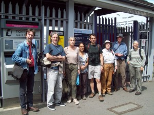 After problems with engineering works, the group finally assembles at Crayford railway station, ready for the off.