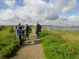 Bexley RSPB Group members on the sea wall at Crayford Marshes (Photo: Brenda Todd)