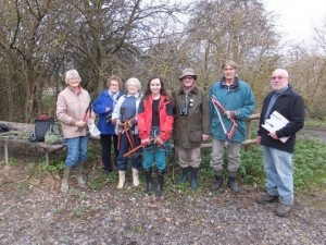 Ruxley Gravel Pits Nature Reserve volunteers, with long-time warden Albert Watson on the right. (Photo: Martin Watts).