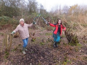 Linda Graham and colleague celebrate the completion of some willow coppicing work. (Photo: Martin Watts).