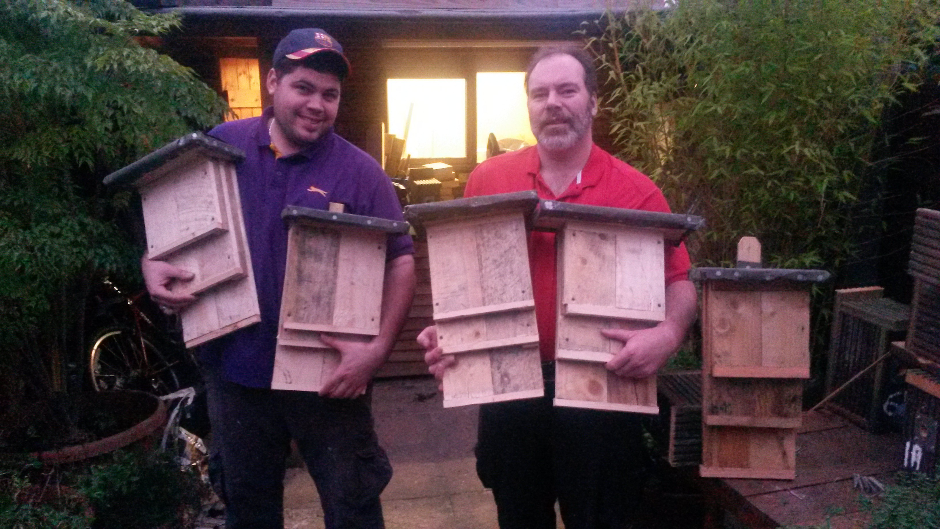 Duncan Devine (r) and Darren with Bat Boxes they have made.