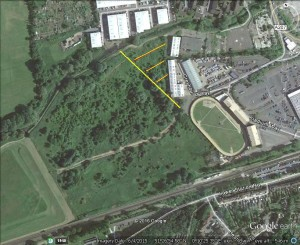 Crayford Rough. Google Earth image showing  the area proposed to be built on, which 10% of the whole MSINC and is important for wildlife and outside of the old industrial estate fenceline.