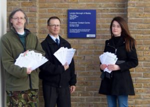 Chris rose (Vice-chair, Bexley Natural environment Forum), Steve Carter and Donna Zimmer (Friends of Crossness Nature Reserve) at the Bexley Council offices with some of the 'Save our Skylarks' letters of objection, many with individual comments added by the signatories. (Photo: Ellen Webb)