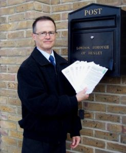 Steve with more 'post' for Bexley Council. The letters were packaged up and handed in at the reception desk on their way to the planning department. (Photo: Ellen Webb)